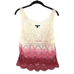 AEO Hombre Lace Tank Top Large Red Pink White
